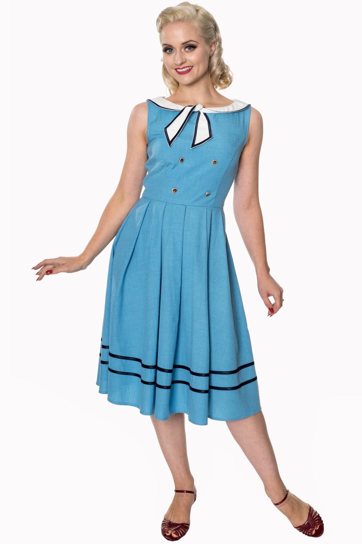 Dancing Days Aquarius 50s Sailor Sky Blue Dress