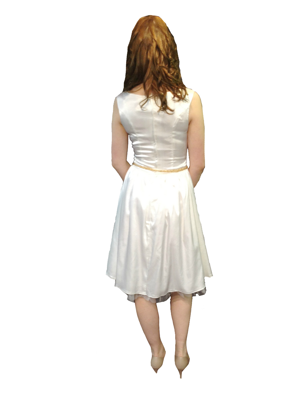 PDUK Audrey Ivory Satin 1950s Prom Dress