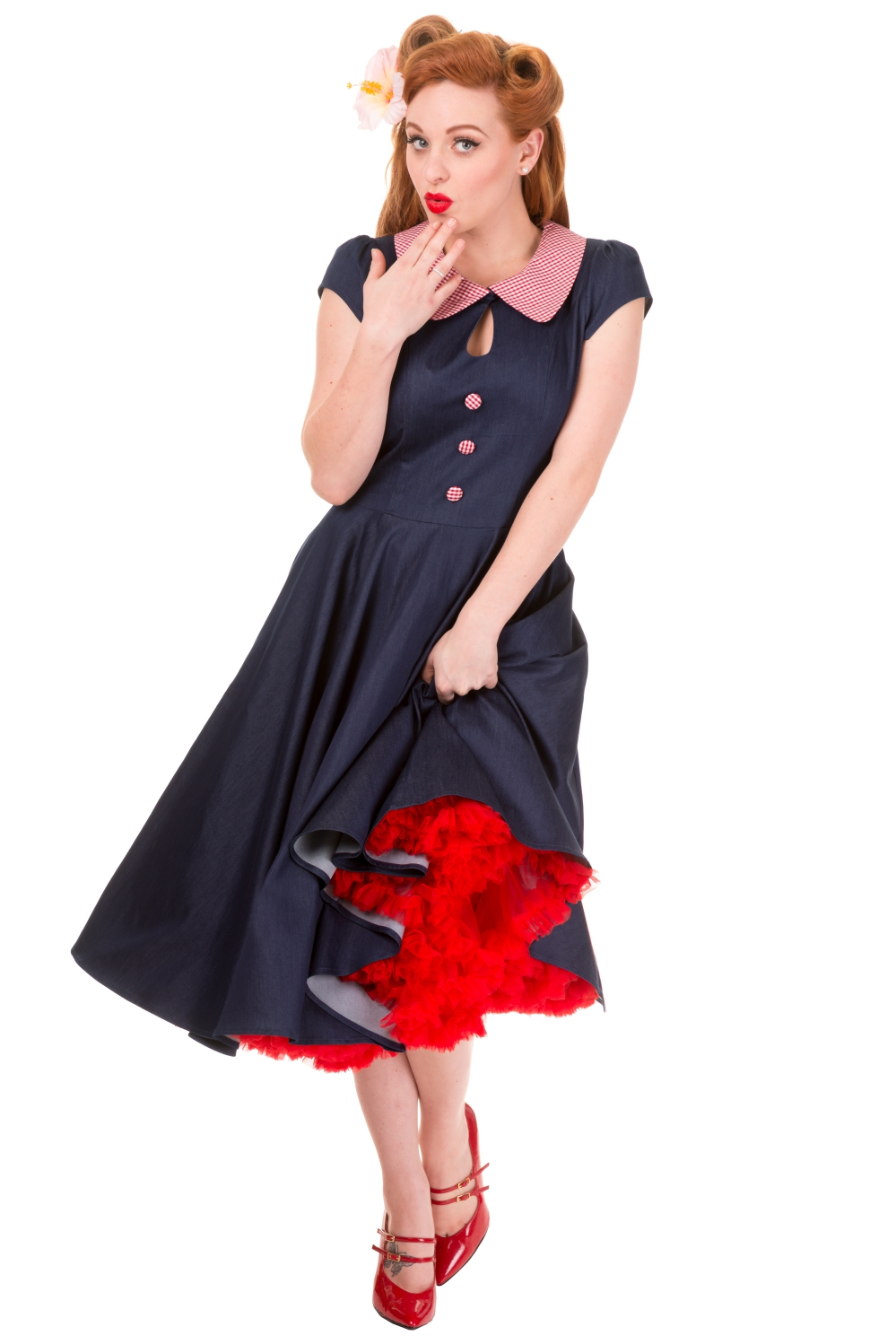 Banned Blueberry Hill Peter Pan Dress With Optional Petticoat