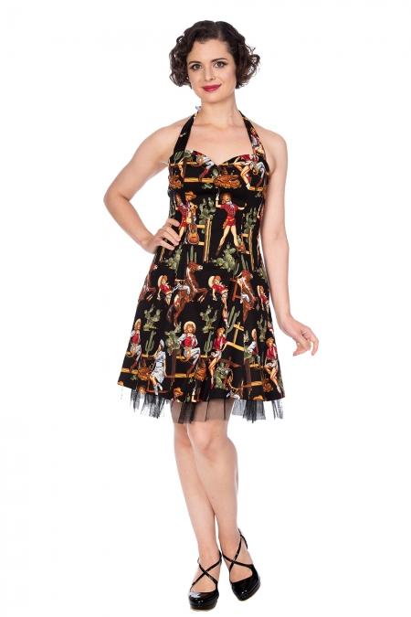 Banned Retro Country 50s Rockabilly Black Cowgirl Net Underskirt Dress