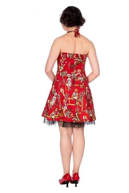 Banned Retro Country 50s Rockabilly Red Cowgirl Net Underskirt Dress