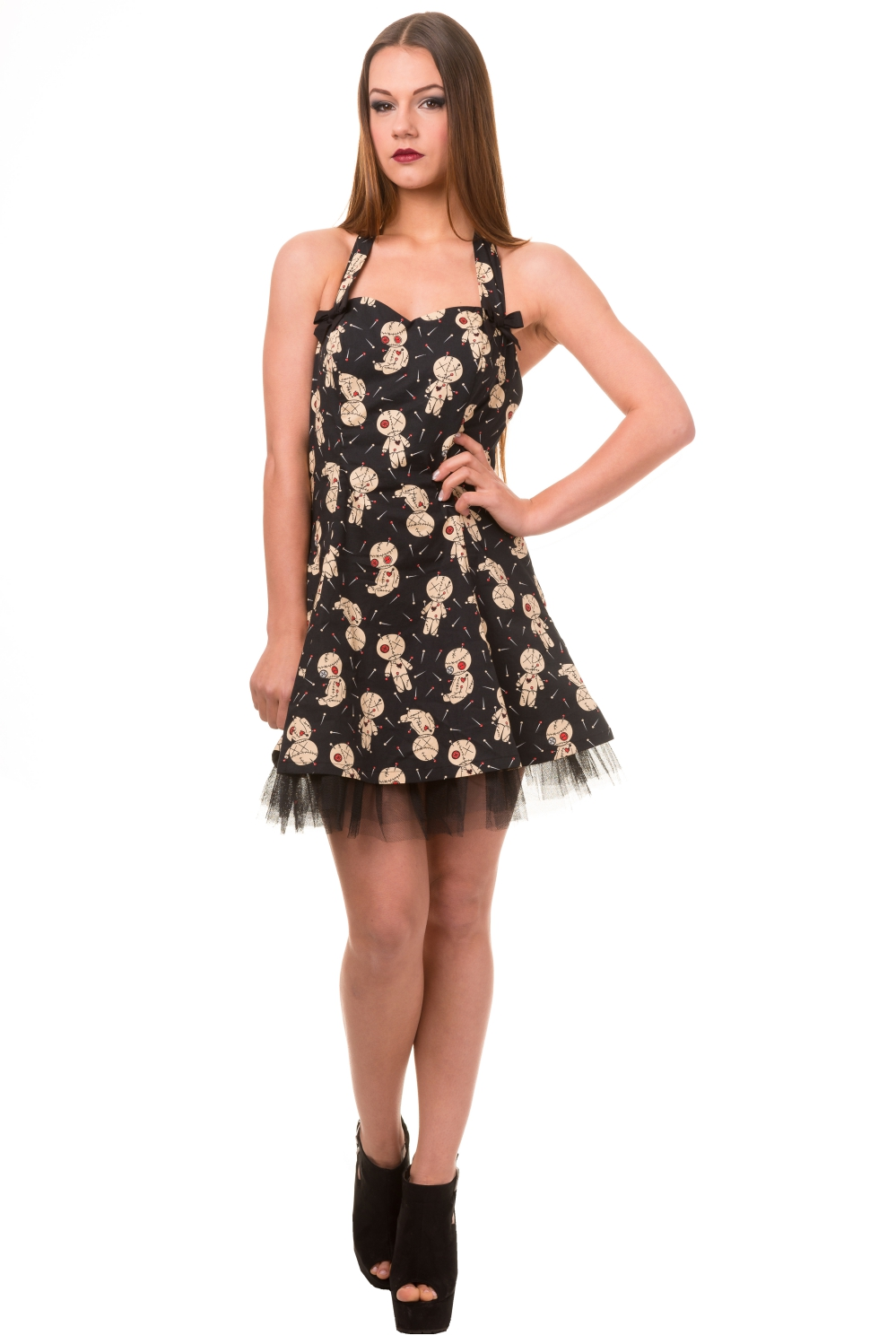 Banned Distractions Goth Voodoo Dolls Mini Dress