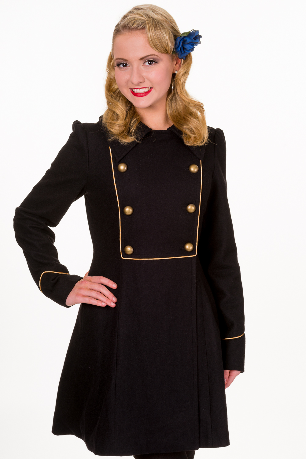 Banned Black Into The Night 1940s Military Coat