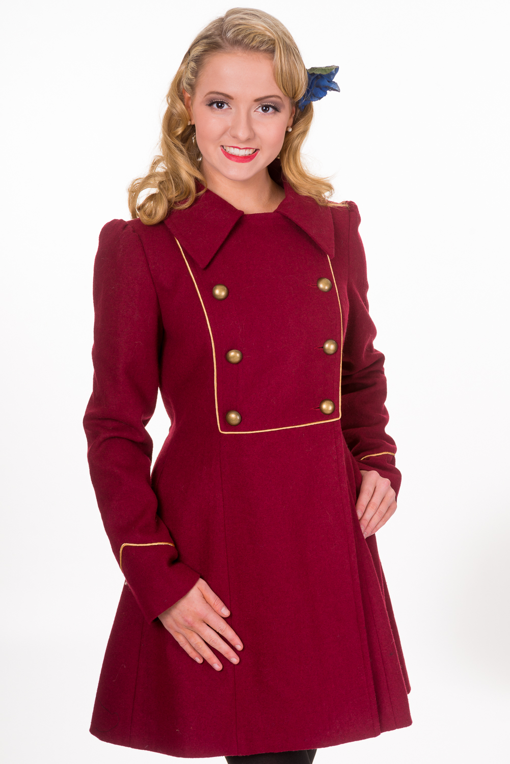 Banned Into The Night Burgundy Coat