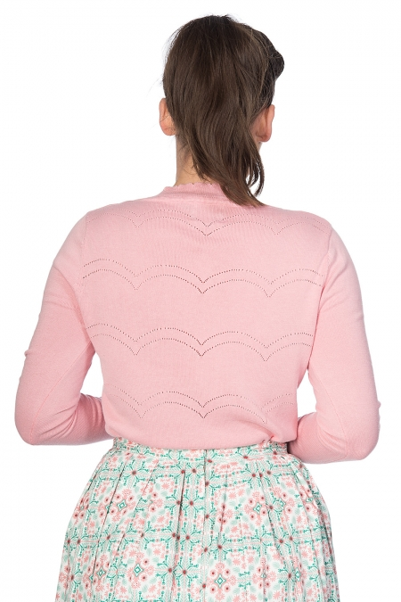 Banned Retro 50s June Pointelle Scalopped Cardigan In Pink