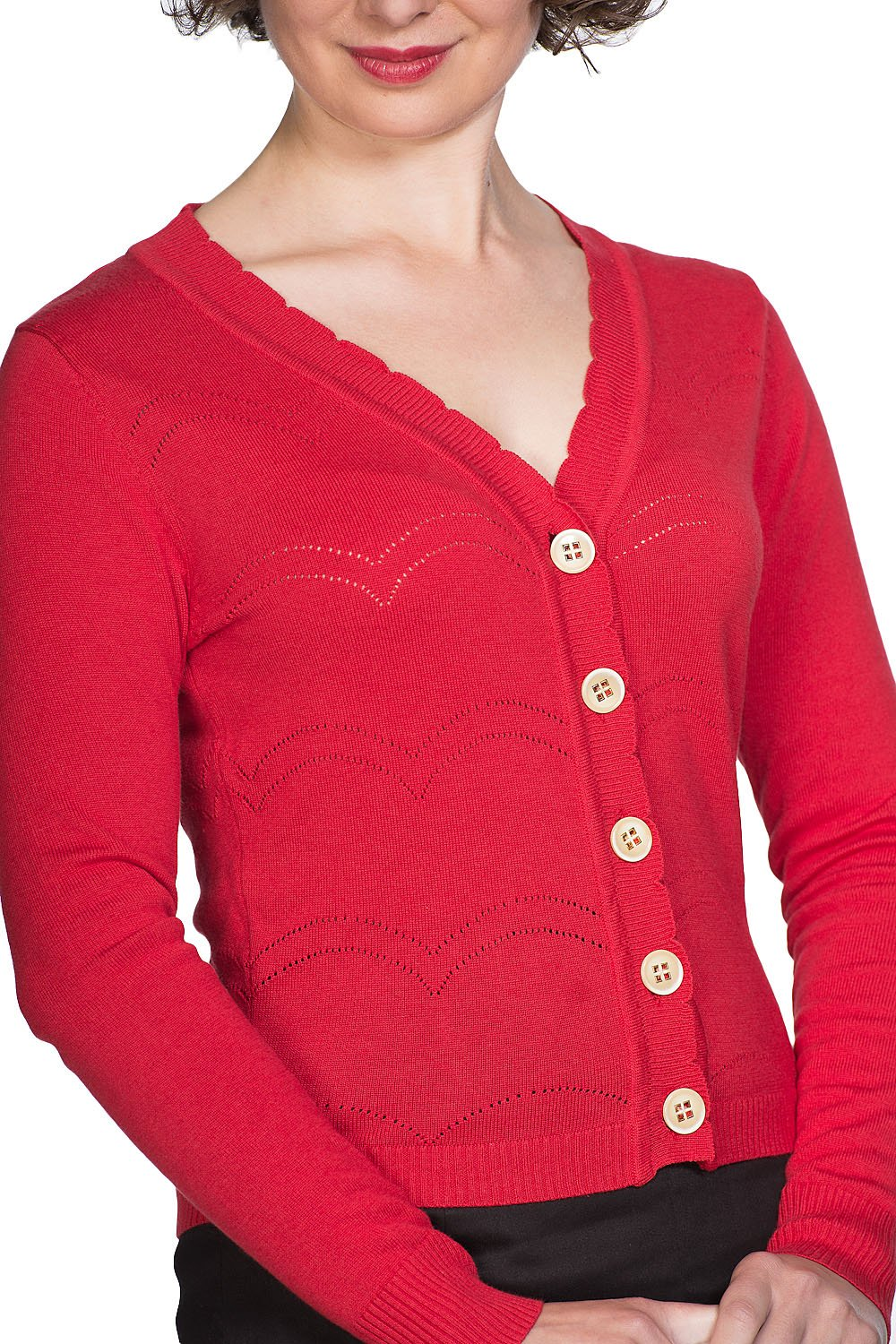 Banned Retro 50s June Pointelle Scalopped Cardigan In Red