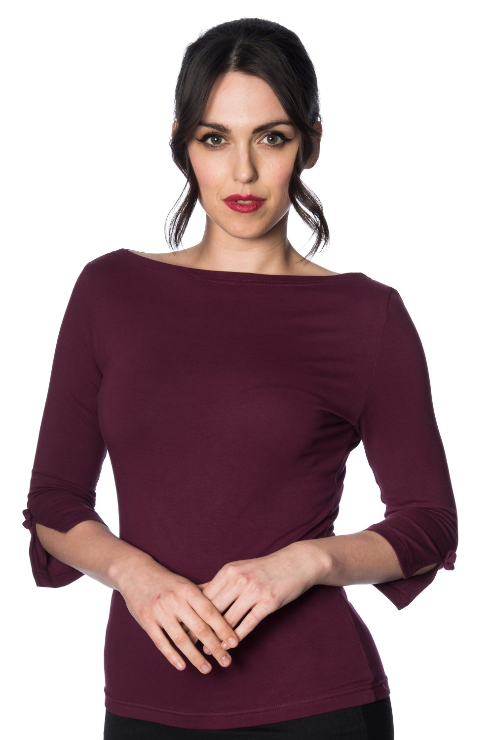 Banned Retro 50s Oonagh Aubergine Top