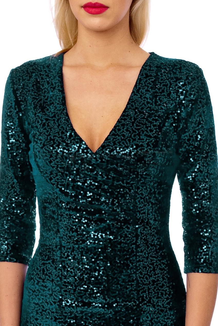 50s Beverley Emerald Sequin Velour Pencil Party Midi Dress