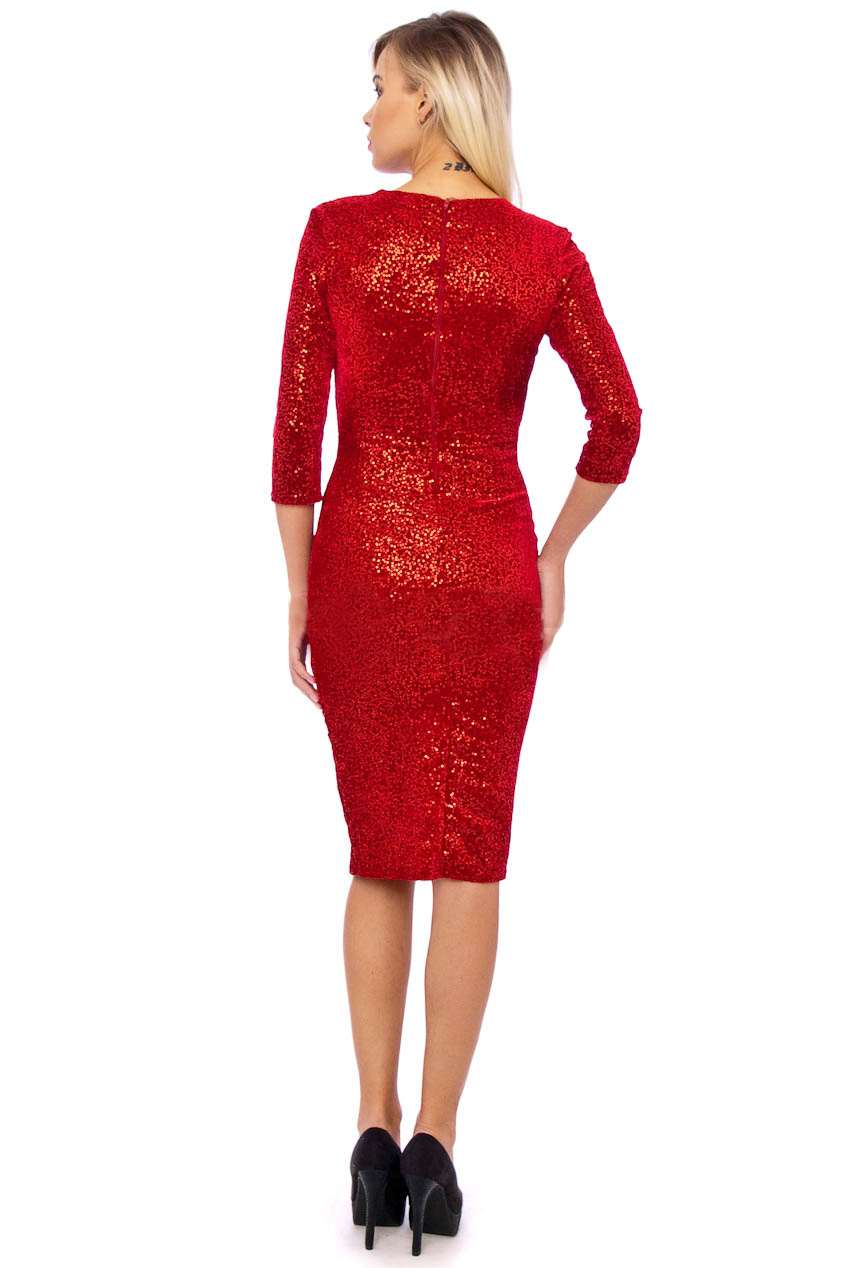 50s Beverley Red Sequin Velour Pencil Party Midi Dress