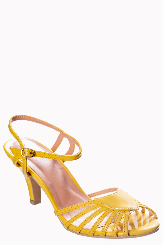 Dancing Days Amelia Yellow 1940s Sandals