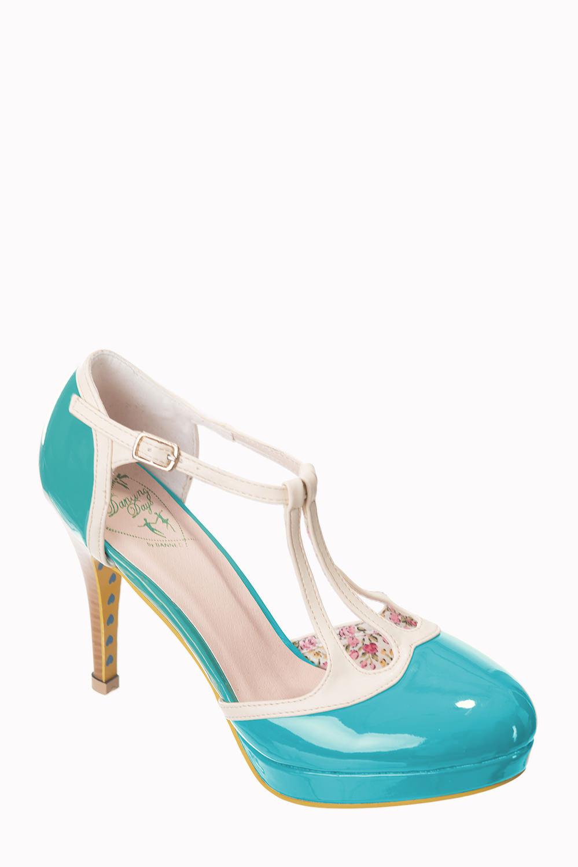 Dancing Days Betty Aqua Cream 50s Shoes