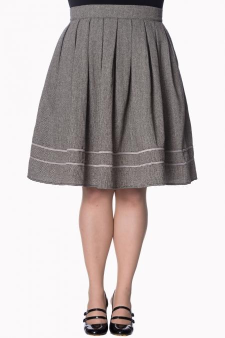 Dancing Days By Banned 50s Izzy Swing Skirt In Herringbone Grey