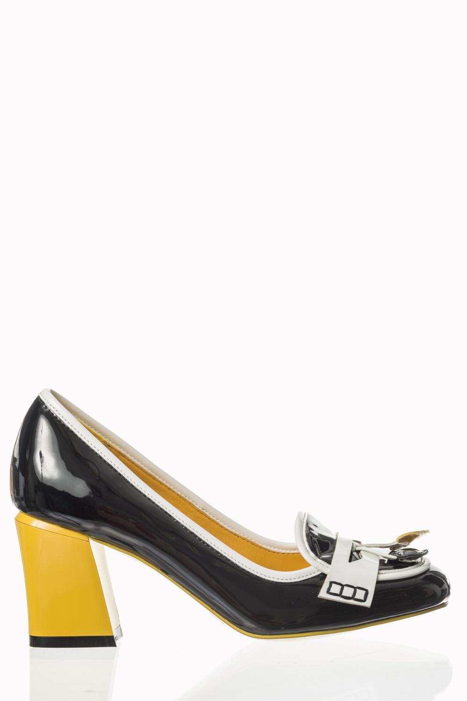 Dancing Days Lust For Life Black Mustard 60s Loafer Shoes