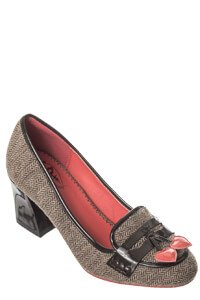 Dancing Days Lust For Life Brown Tweed 60s Loafer Shoes
