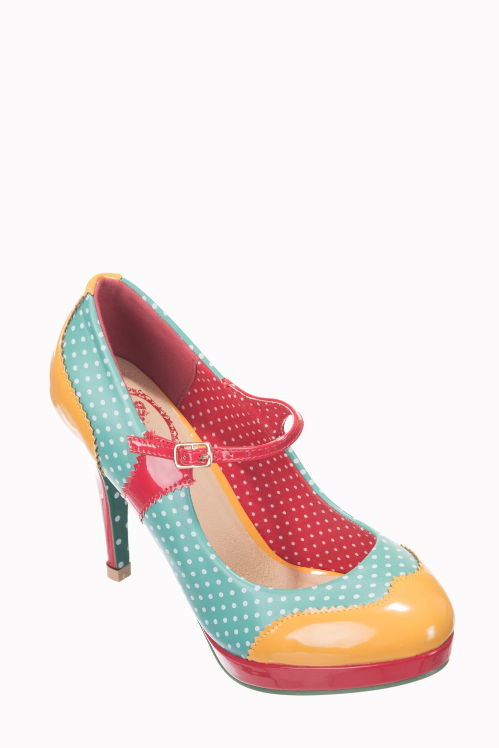 Dancing Days Mary Jane Amber Aqua 50s Polka Dot Shoes