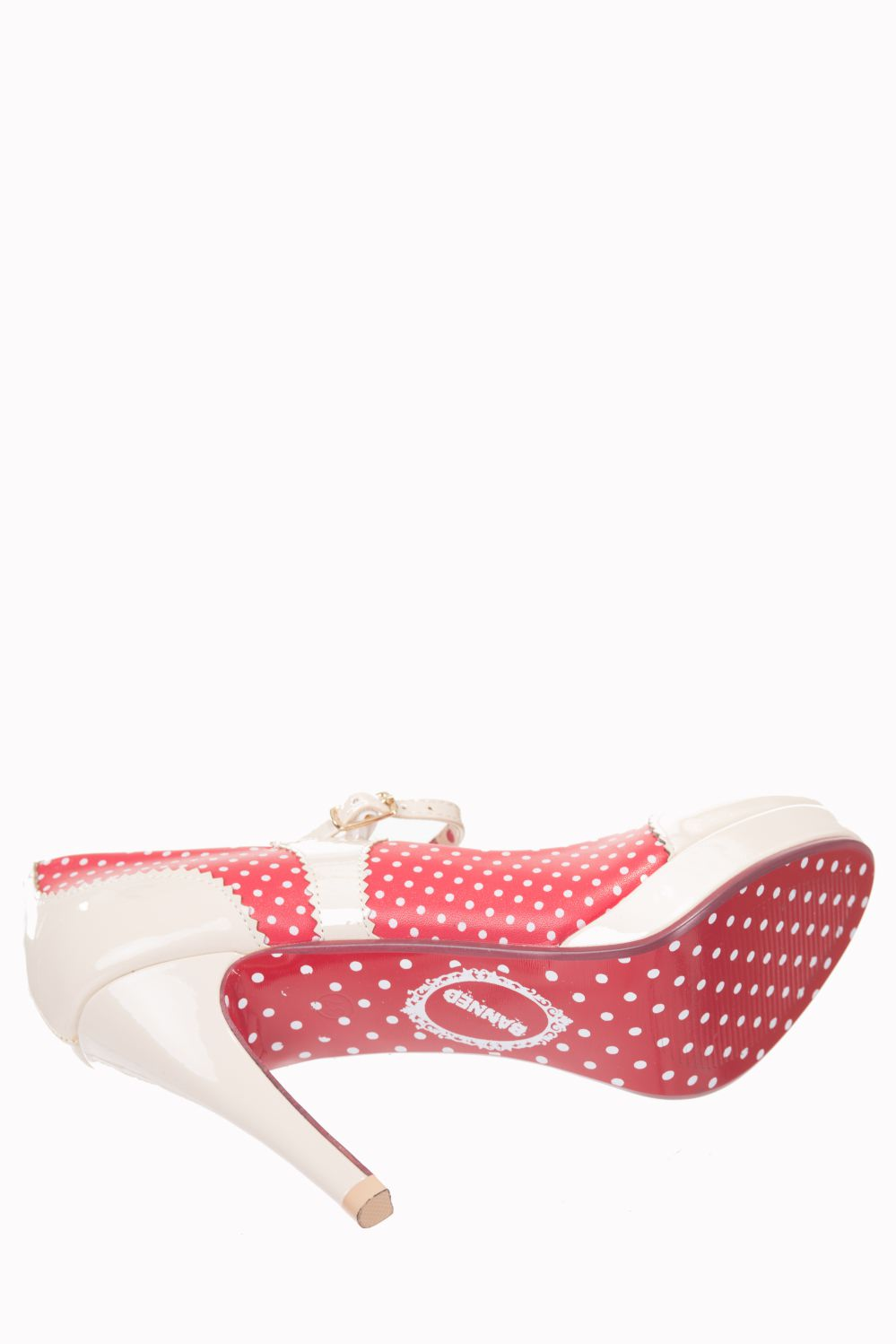 Dancing Days Mary Jane Red Nude 50s Polka Dot Shoes