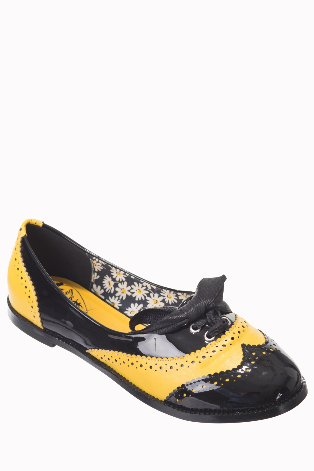 Dancing Days Milana 60s Brogue Black Yellow Shoes