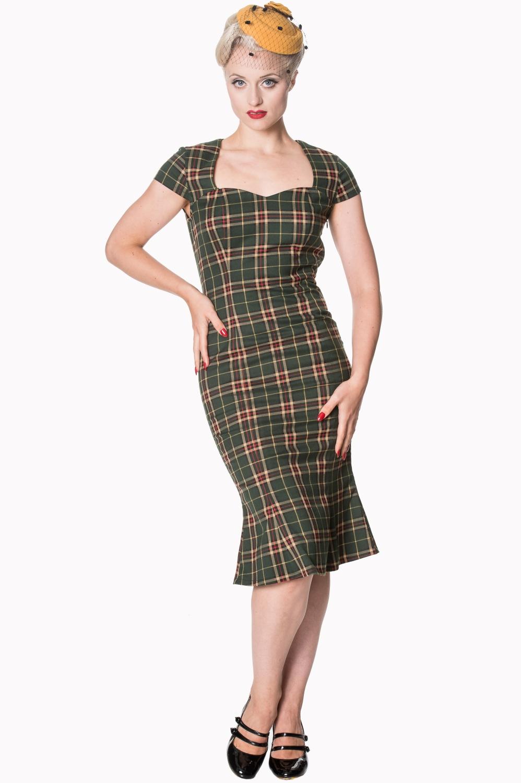 Dancing Days Poppy Green Tartan Dress