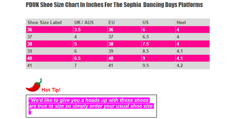 dANCING DAYS SOPHIA SIZE CHART