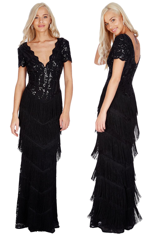 Black Full Length Sequin Vintage Maxi 1920s Downton Abbey 20s Crop Sleeve Dress