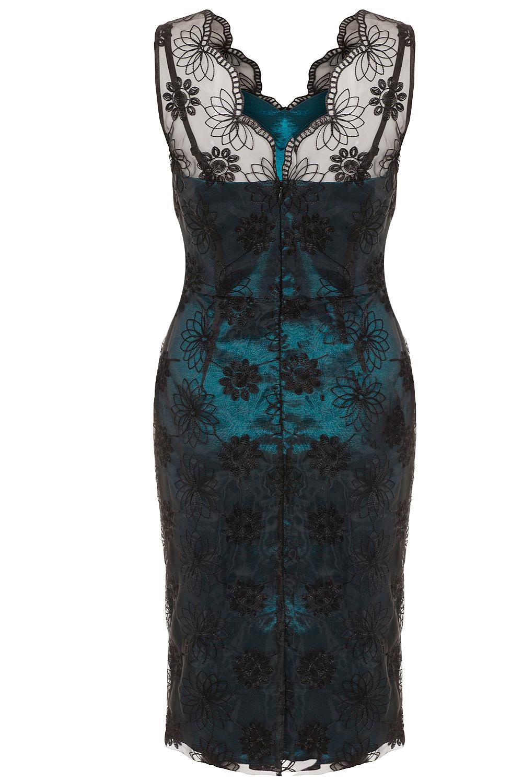 Voodoo Vixen Simone Organza Teal 50s Dress