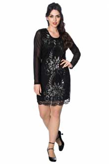 Gatsby Long Sleeve Flower Sequin Dress