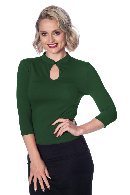 Banned Retro Green 50s Mandarin Collar Top