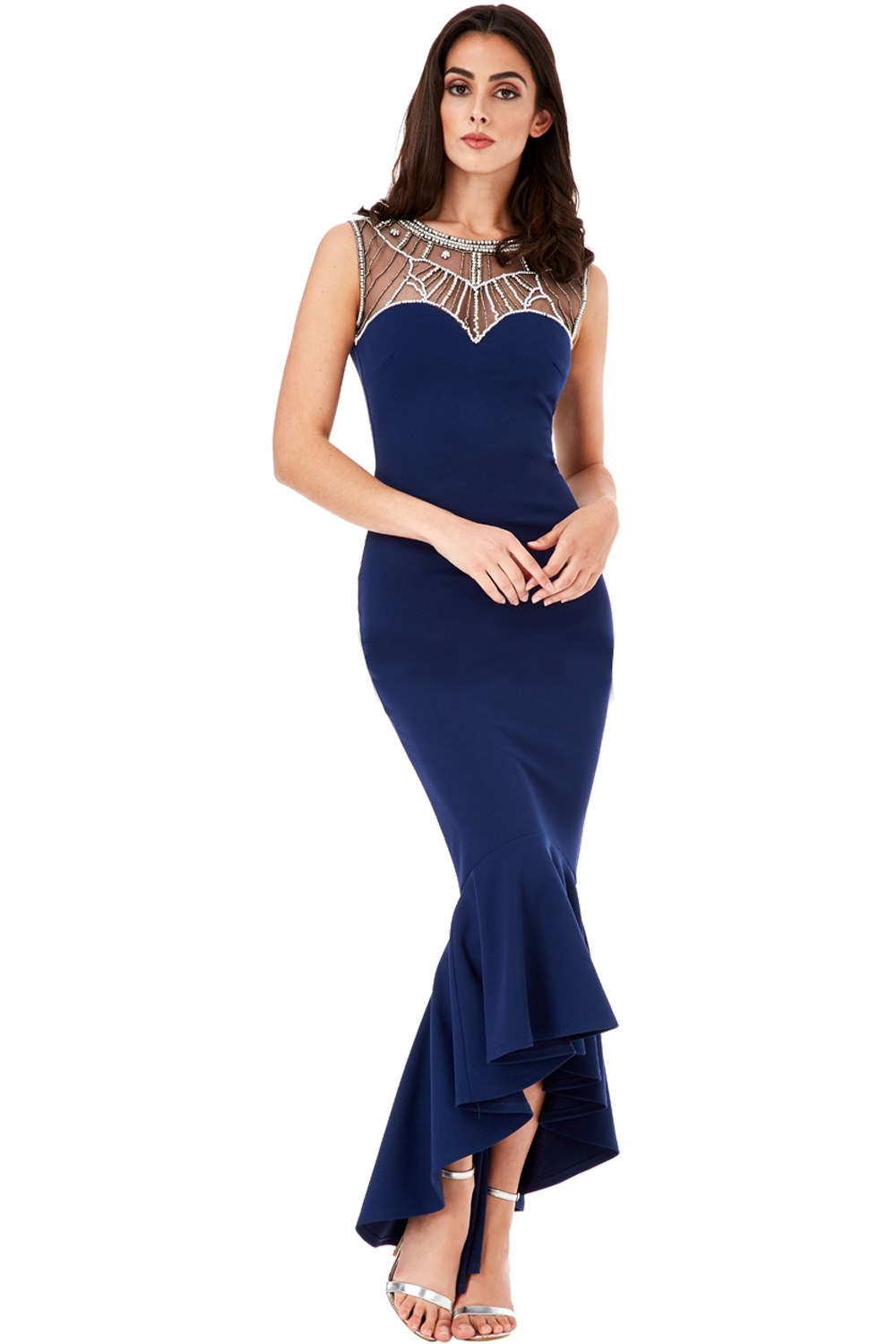 Lucille Navy Maxi 1920s Fishtail Prom Dress