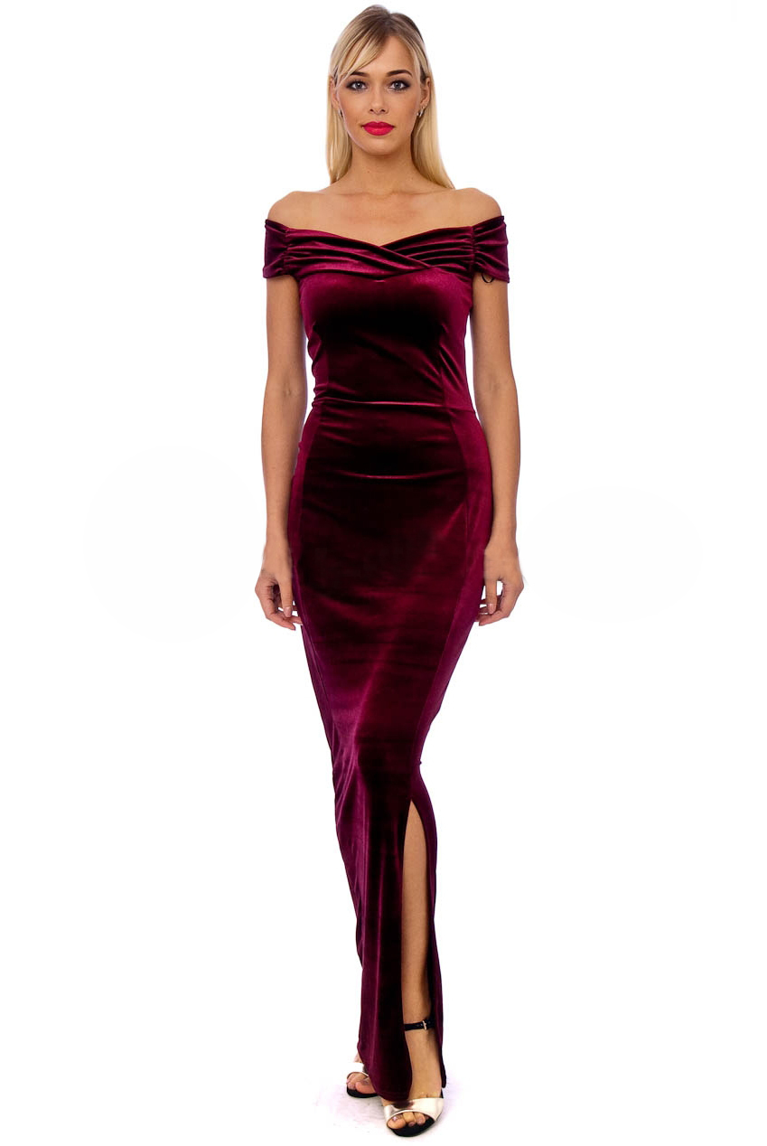 Vintage 50s Claret Marilyn Velvet Wiggle Maxi Dress