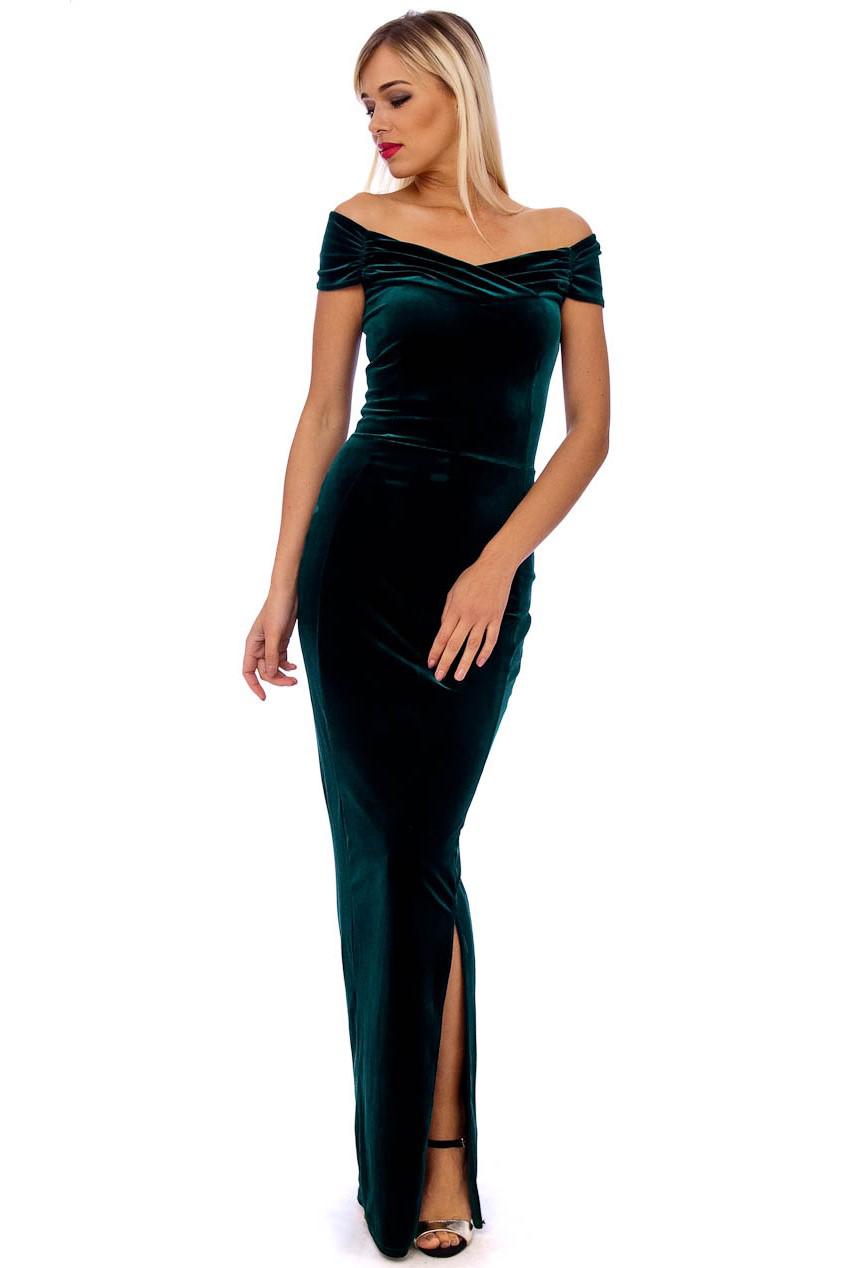 Vintage 50s Green Marilyn Velvet Wiggle Maxi Dress
