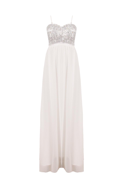 Nazz White Tiffany Maxi Prom Diamante Dress