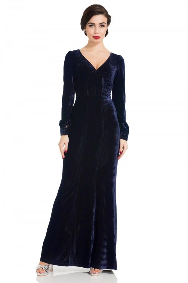 30s Vixen Nicki Navy Glamour Velvet Maxi Dress
