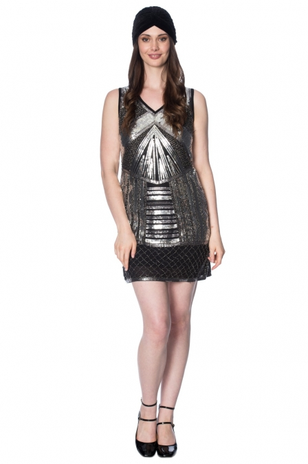 Great Gatsby Black Silver Space Dress