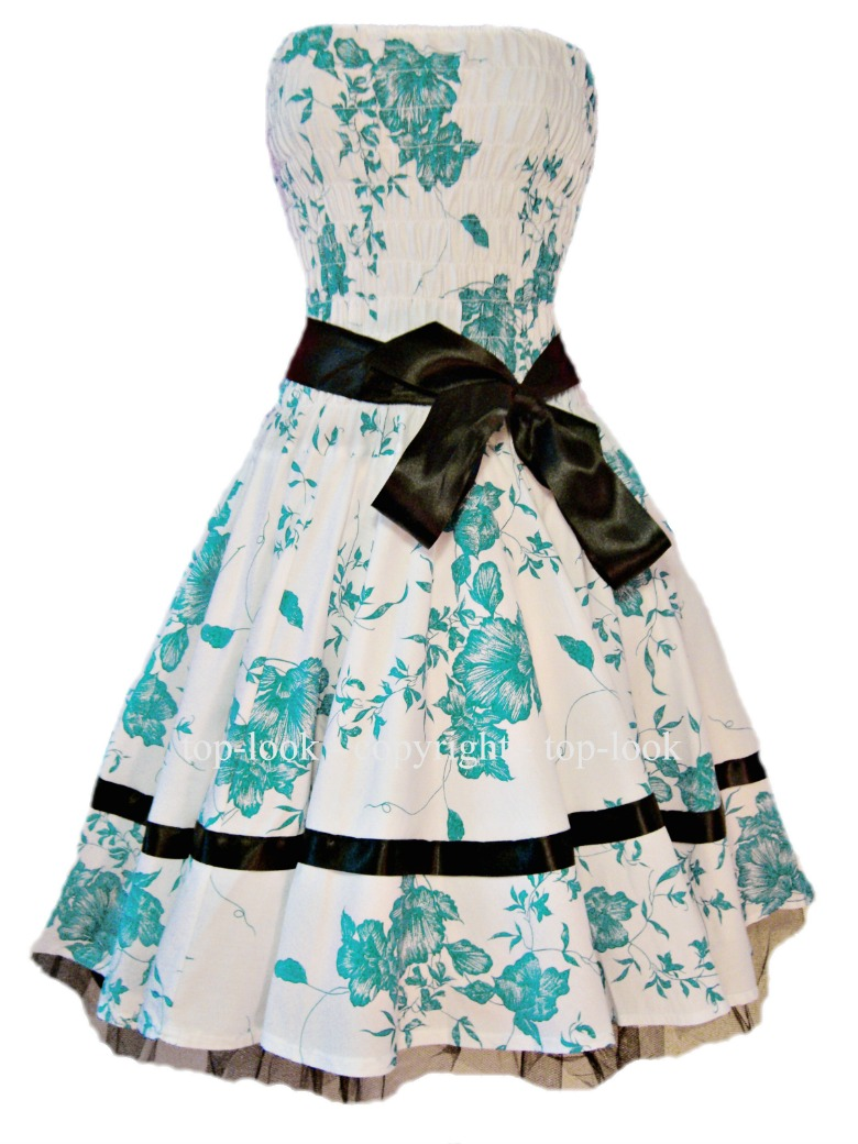 Strapless Turquoise Prom Dress
