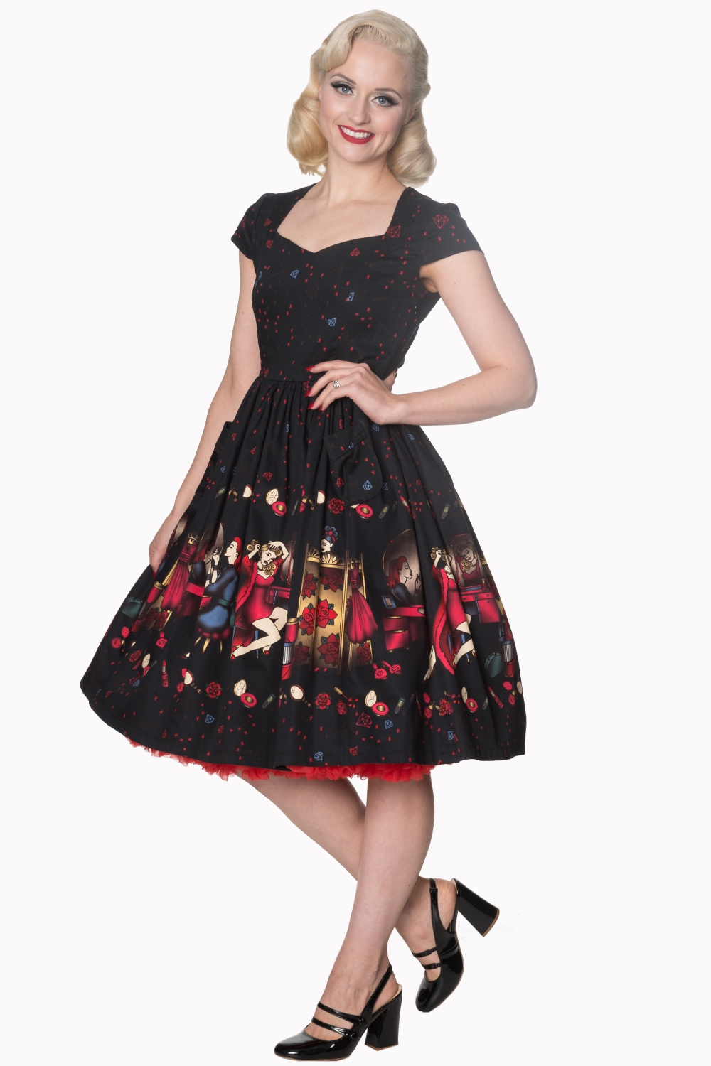 Dancing Days Black Vanity 50s Dress With Luxury Red Petticoat