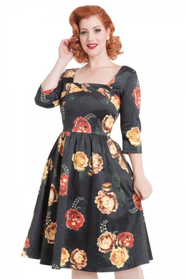 50s Vixen Meg Floral Swing Black Dress