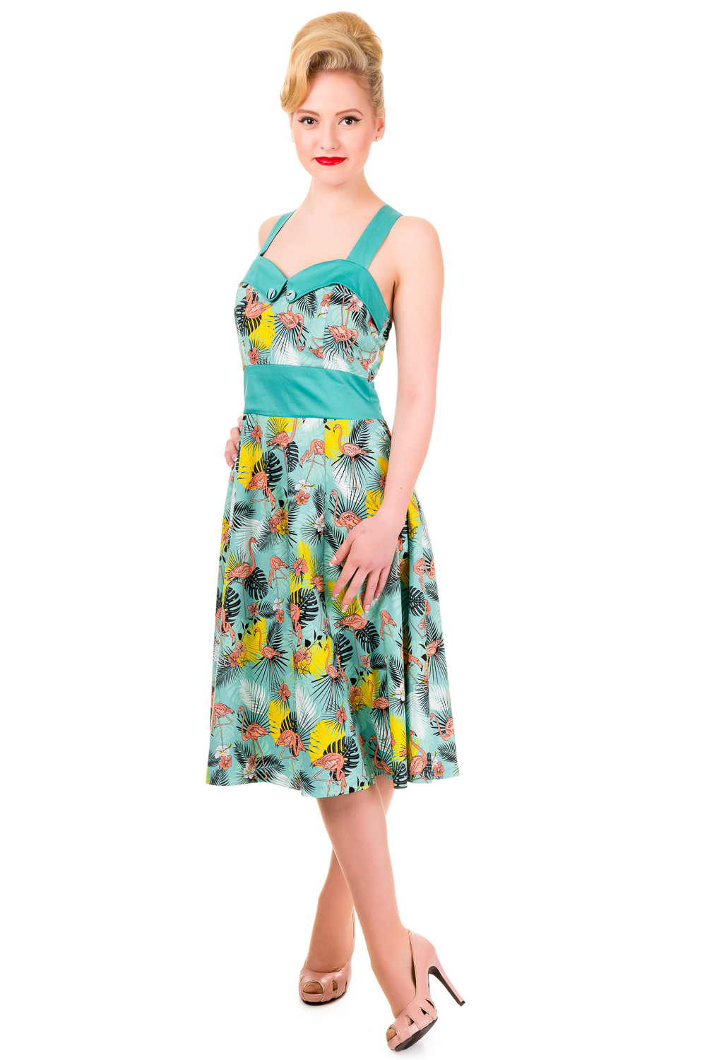 Banned Wanderlust Tropical Flamingo Rockabilly Prom Dress