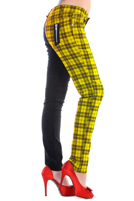 Ladies Banned Yellow Half Tartan Skinny 80s Jeans