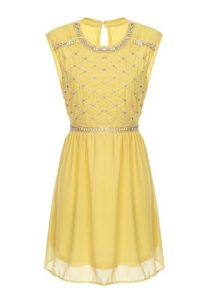Nazz Collection Hana Yellow Mini Prom Dress